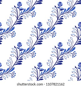 Seamless pattern. Flower background with leaves in the style of national ceramic painting. Vector illustration