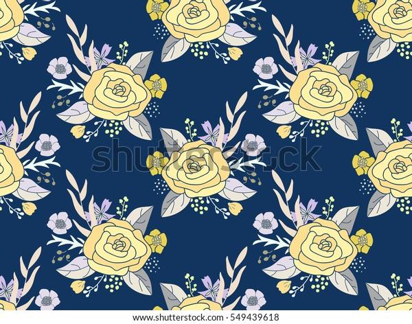 Seamless Pattern Flower Bouquets Vintage Rose