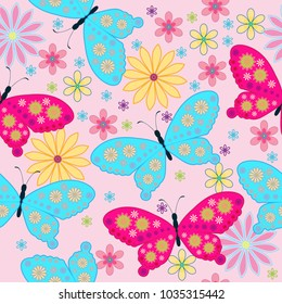 Seamless Pattern with flower  butterfly