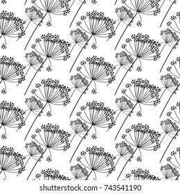Seamless pattern. A flower of hemlock or fennel of black color on a white background. Background for textiles, making, book covers, wallpaper, print or gift wrapping. Vector EPS10