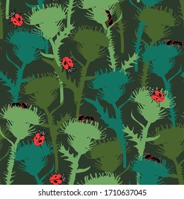 seamless pattern with flower and insects, vector design for paper, fabric