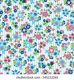 Seamless pattern with flower & stripes. Vector floral background