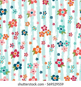 Seamless pattern with flower & stripes. Vector floral background.