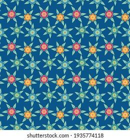 Seamless pattern with flower vector Illustration, batik style