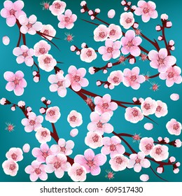 Seamless Pattern with flowers. Apricot, peach, cherry, plum.  Vector illustration. Springtime. flowers.