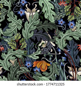 Seamless pattern with flowers in art deco style. Modern trendy print.