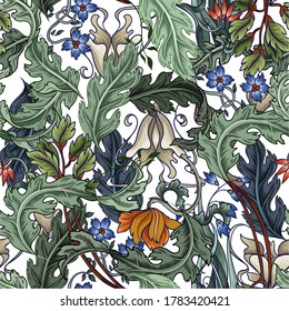 Seamless pattern with flowers in art deco style. Modern trendy print