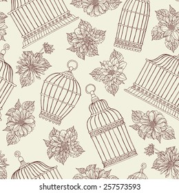Seamless pattern with flowers and bird cages. Dahlias.