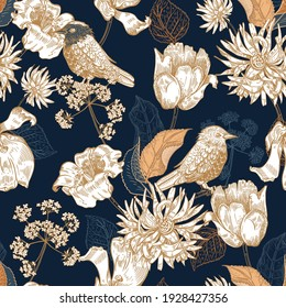 Seamless pattern with flowers and birds. Blue vintage background. Botany.