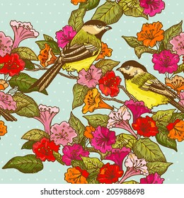 Seamless Pattern - Flowers and  Birds - for design and scrapbook in vector