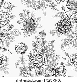 Seamless pattern with flowers. Blooming  garden. Vector illustration.