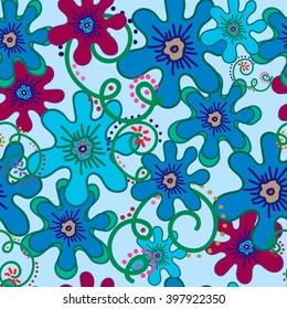 Seamless pattern flowers blue and curls on Very soft blue background. For printing on packaging, bags, cups, laptop, furniture, etc. Vector.