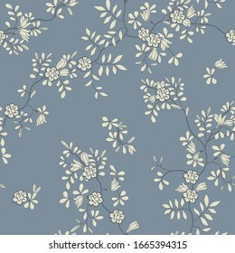 seamless pattern of flowers, branches and leaves