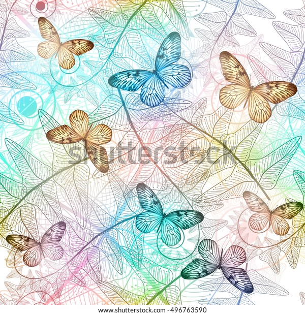 Seamless pattern with flowers and butterflies. Vector illustration.