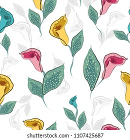 Seamless pattern with flowers calla and leaves