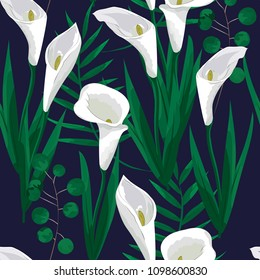seamless pattern of flowers of Calla lilies.vector illustration