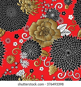 Seamless pattern with flowers. Chinese and Japanese silk art style.