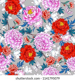 Seamless pattern with  flowers in Chinese style