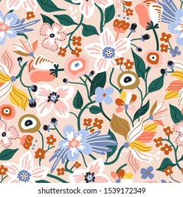 Seamless pattern with flowers. Creative spring floral texture. Great for fabric, textile Vector Illustration