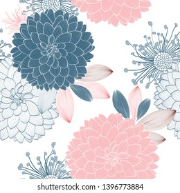 Seamless pattern with flowers dahlia and abstract leaves.