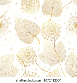 Seamless pattern with flowers Dandelion and leaves. Vector illustration