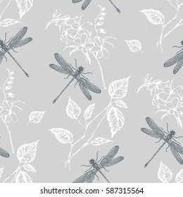 Seamless pattern  flowers and dragonfly. Hand drawn. Vector illustration.