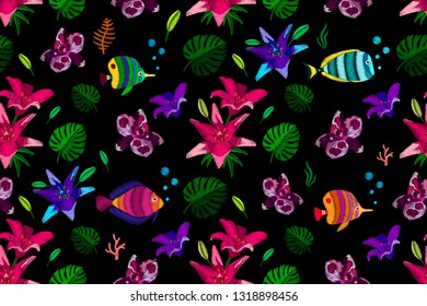 Seamless pattern  flowers and fish stylized texture of embroidery. Vector fashion exotic pattern for printing on textile, clothing, t-shirts, cotton, silk, shawl.