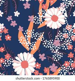 Nahtloses Muster mit Blumen. Blumenhintergrund. Stoffdesign. Sommerdruck