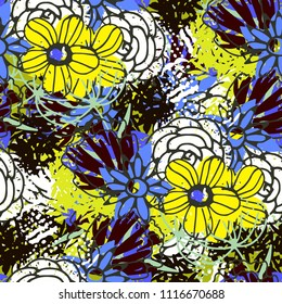 Seamless pattern with flowers. Floral grunge background. Fabric design