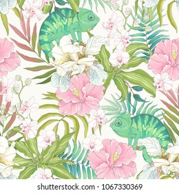 Seamless pattern with flowers Hibiscus, Orchid, Fleur de lis, colorful leaves and green Chameleon. Vector tropical illustration in vintage style on beige background.