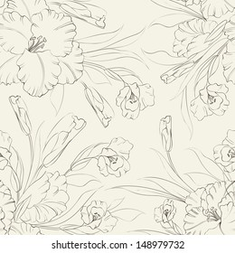 Seamless pattern with flowers of iris in vintage style. Vector illustration.