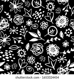 Seamless pattern flowers leaves abstract doodle hand drawn lines scandinavian style white black background. fashion print, trend of the season Can be used for Gift wrap fabrics wallpapers. Vector