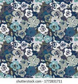 Nahtloses Muster mit Blumen, Blättern. Abstrakter floraler Hintergrund. Sommerdruck. Stoffdesign, Tapete