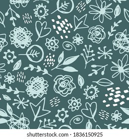 Seamless pattern flowers leaves abstract doodle hand drawn lines scandinavian style white mint teal pine background. fashion print, trend of the season Can be used Gift wrap fabric wallpaper. Vector