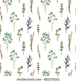Seamless pattern: flowers, leaves and branches, Imitation of watercolor, isolated on white. Sketched wreath, floral and herbs garland. Handdrawn Vector Watercolour style, nature illustration.