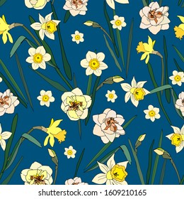 Seamless pattern with flowers and leaves of daffodils on blue background. Tropical flowers vector illustration. EPS 10