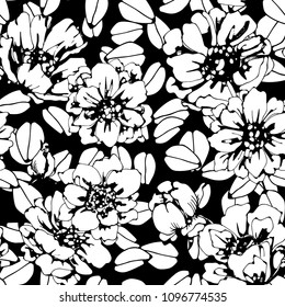 Seamless pattern with flowers, leaves. Floral background texture. Fabric design in black and white