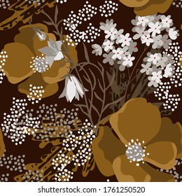Nahtloses Muster mit Blumen, Blättern. Blumenhintergrund. Stoffdesign