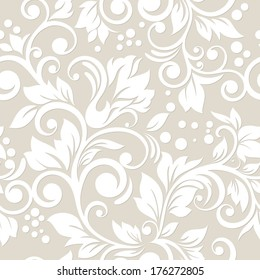 Seamless pattern with flowers and leaves. Floral ornament.