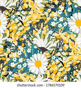 Nahtloses Muster mit Blumen, Blättern. Blumenhintergrund. Sommerdruck. Stoffdesign, Tapete