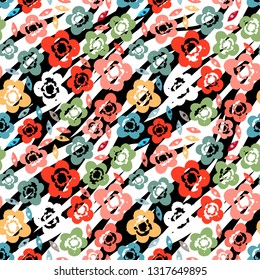 Seamless pattern with flowers, leaves. Grunge background texture. Repeating print. Fabric design, wallpaper