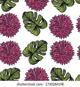 seamless pattern flowers and leaves hand drawing isolated on white background vector