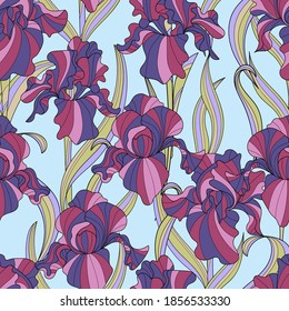 seamless pattern of flowers and leaves of irises in vintage style Art Nouveau and Art Deco with gold. Exquisite botanical background. Hommage Victorian fabric design