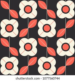 seamless pattern with flowers and leaves in retro scandinavian style