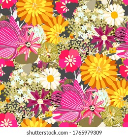 Seamless pattern with flowers, leaves. Tropical floral background. Fabric design. Summer print