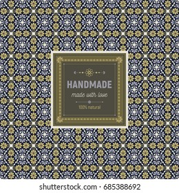 Seamless pattern with flowers and lines in white, blue and beige colors on dark background with label. Template with text. Can be use as packaging for handmade soap, candles, chocolate.