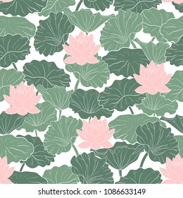 Seamless pattern with flowers and lotus leaves on a white background. Hand-drawn vector illustration.