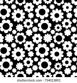 Seamless pattern with flowers on black background. Vector illustration. Wallpaper with cute daisy
