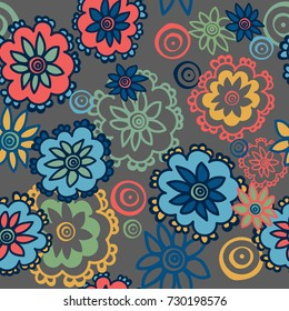 Seamless pattern flowers on a gray background. For your design. Vector.