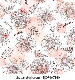 Seamless pattern from flowers outlines and watercolor spots on white background. Hand drawn flower outlines.